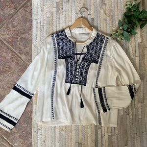 Tops - Boho Long Sleeve Embroidered Top - Small